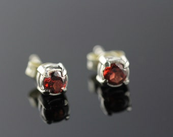 Garnet Stud Earrings set in Sterling Silver, Post Earrings, Small 4mm Round Dainty Earrings  STS2