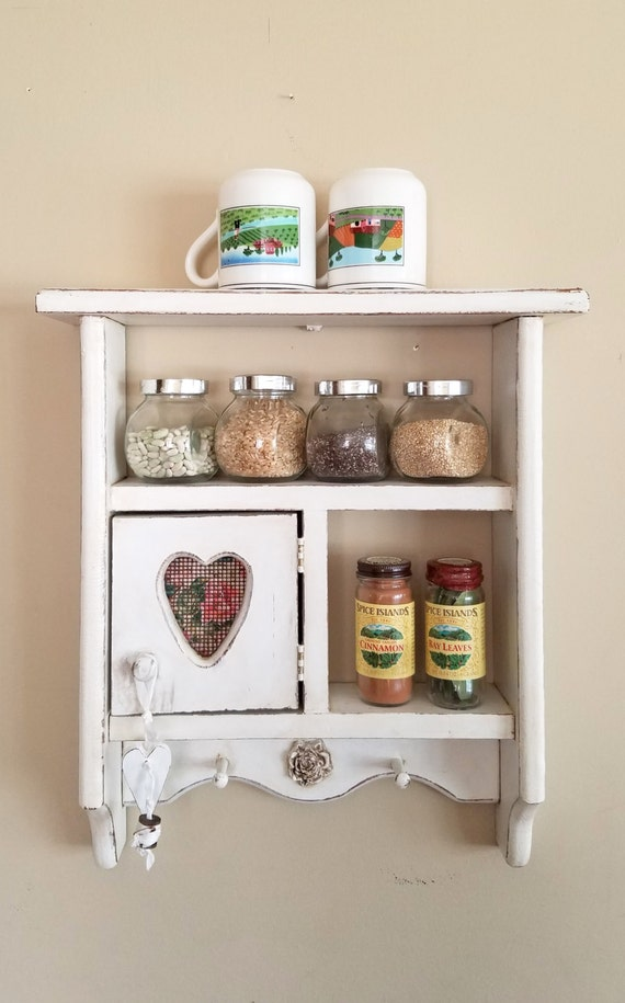 Farmhouse Vintage Shabby Chic Cottage Wood Spice Rack Display