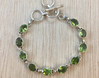 Sterling Silver Peridot Gemstone Bracelet