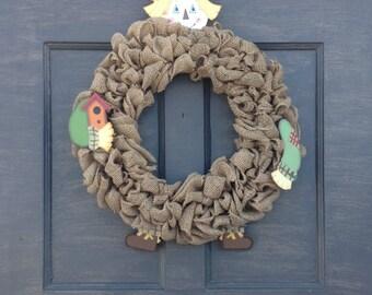 Harvest Wreath, Fall Wreath, Front Door Wreath, Door Wreath, Wreath, Burlap Scarecrow, Scarecrow Wreath, Harvest Scarecrow, Burlap Wreath