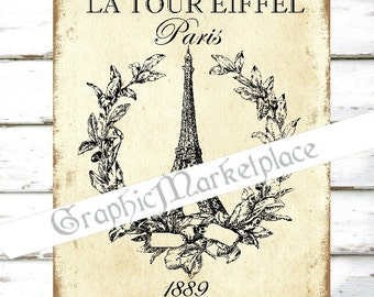 Paris Download Eiffel Tower Tour Eiffel French Country Download Fabric Linen digital collage sheet graphic printable image No. 324