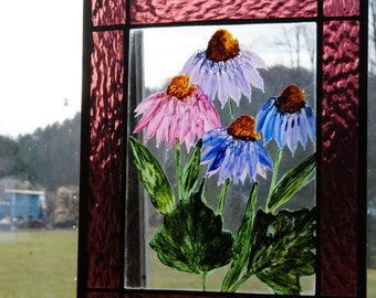 Hand Painted Cone Flowers with a Stained Glass Boarder