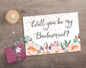 Printable Will you be my Bridesmaid, Printable Bridesmaid Card, Confetti & Floral Bridesmaid Invitation, Boho Bridesmaid Proposal Card