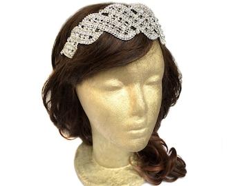 Rhinestone Headband, Jeweled Bridal Headband, Rhinestone Wedding Headband, Jeweled Wedding Headpiece, Vintage Wedding, Medieval Renaissance