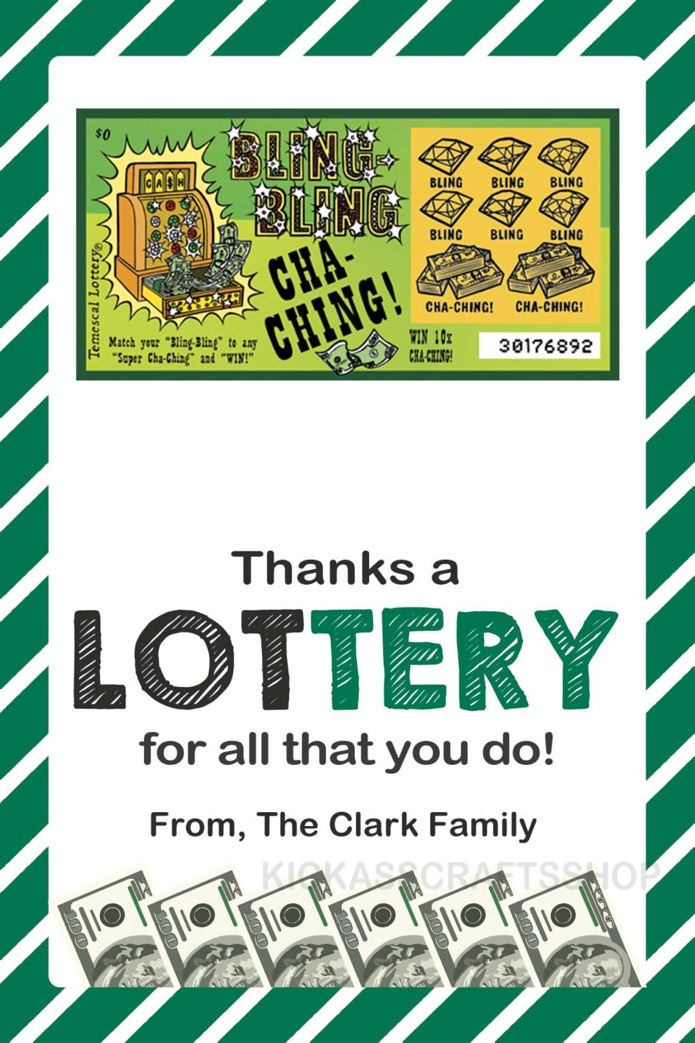 Printable Lottery Ticket Gift Tag