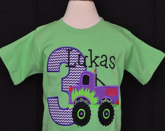 Personalized Birthday Monster Truck Applique Shirt or Onesie Girl or Boy