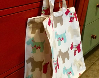 Small tote made with adorable Scottie dogs printed on cotton duckcloth.