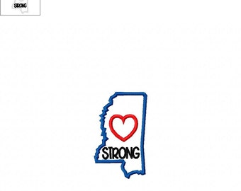 Mississippi Strong State with Heart Applique - 3 Sizes Included - Embroidery Design -   DIGITAL Embroidery DESIGN