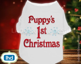 Puppys First Christmas Dog Machine Embroidery Design CHR046A