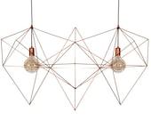 XL Himmeli Light Triangle Double Diamond Cage pendant Ge matte Chandelier Industrial Pink Gold Himmeli Art Panselinosometric Copper