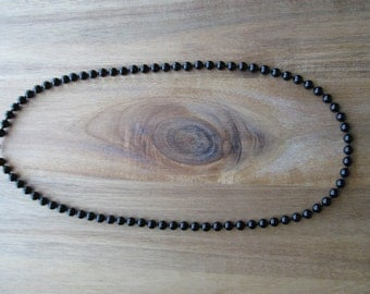 Mens Black Onyx Necklace, Men's Beaded Necklace, 8mm Mens Necklace, Gifts for Men, Long Necklace, Mens Jewelry, Men's Necklace