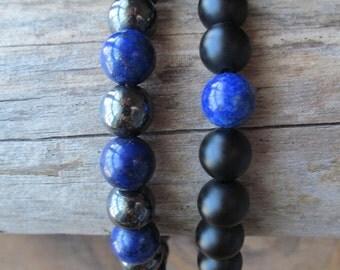 Bracelet Set Lapis Lazuli, Hematite, Matte Black Onyx, Stacking Bracelets, Men's Bracelet, Beaded Bracelets, Mala Bracelet,  Yoga Jewelry