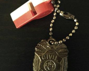 Vintage Civil Service Charm And Whistle On A Key Chain Novelty Souvenir