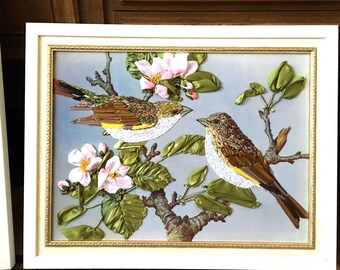 Freehand embroidery Wall art  embroidery Embroidered picture Embroidery with silk ribbons ribbon embroidery 3d picture