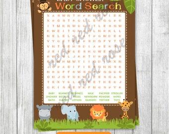 Baby Shower Word Search, Jungle Safari Word Search, Jungle Animals Word Search, Safari Animals Baby Shower Word Search INSTANT DOWNLOAD