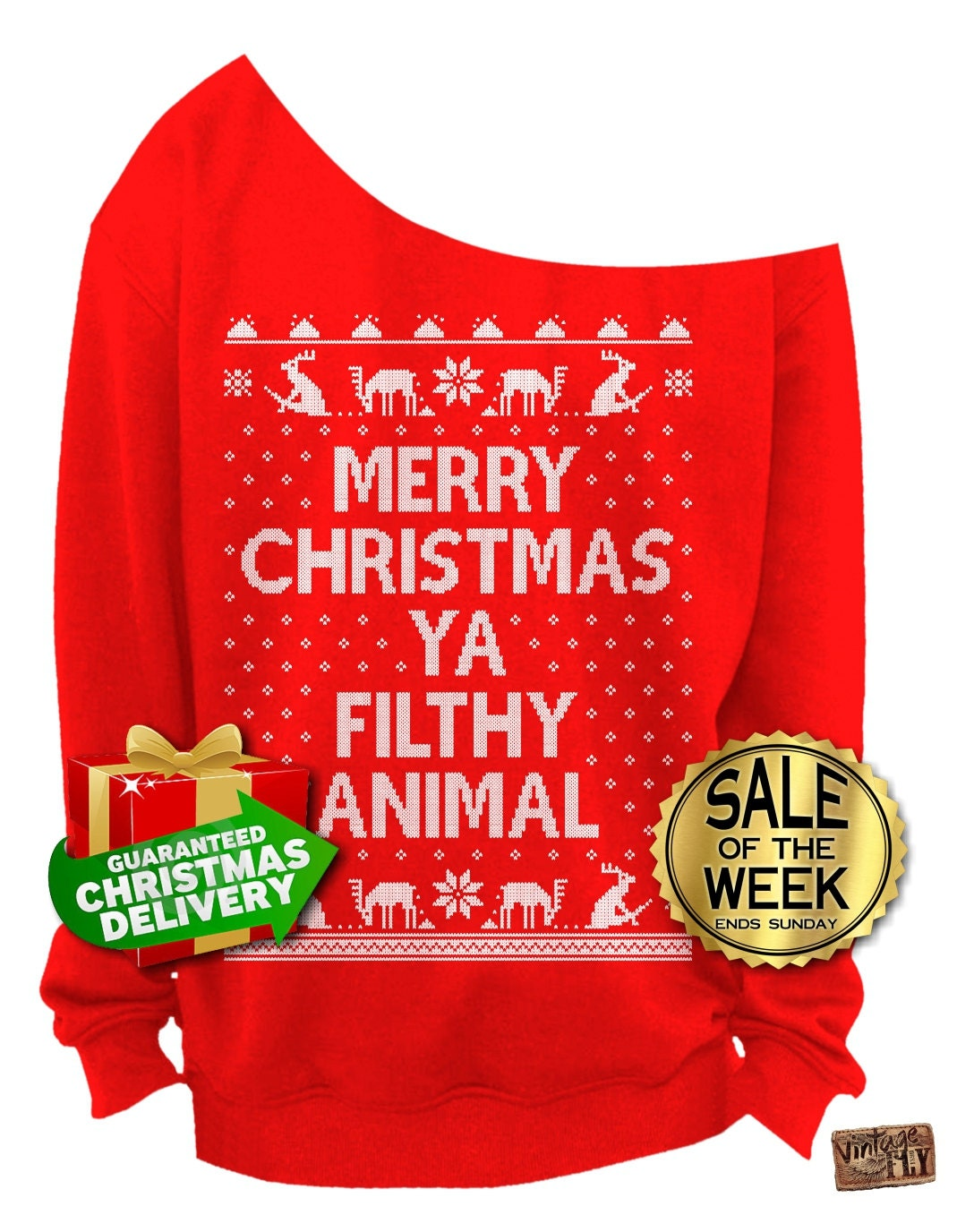 Merry christmas ya filthy animal ugly by vintageflyclothingco