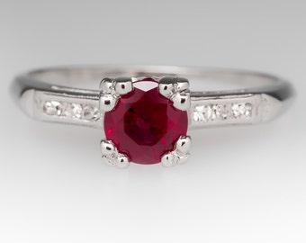 Ruby Engagement Ring –Vintage .90 Carat Round Red Ruby & Diamonds - Platinum Engagement Ring - WM11234