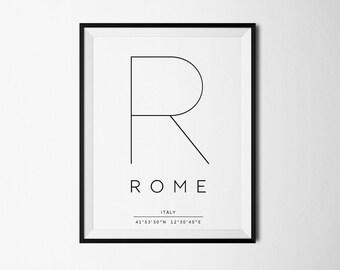 Rome, Rome print, Rome Italy, Rome poster, Rome printable, Rome coordinates, Rome art, Italy print, Italy poster, Italy art, Italy decor