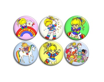 Rainbow Brite - pinback badge buttons or magnets 1.5""
