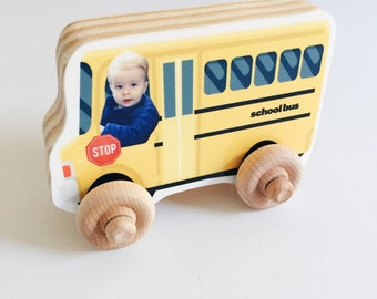 Christmas Custom Photo Wood Car, Personalized Birthday Boy Girl Gift, Wooden Push Toy, Kid's Toddler Preschool Vehicle, School Bus