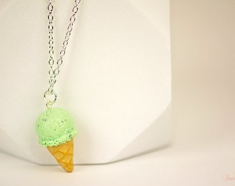 Scented Option - Mint Chip Ice Cream Necklace, Mint, Food Jewelry, Scented Jewelry, Clay Jewelry, For Her, Summer, Gift Ideas, Ice Cream