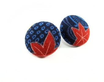 Fabric button earrings, Japanese print fabric, covered button earrings, textile earrings, Fabric button jewelry, Handmade textile jewellery