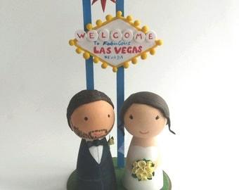 Las Vegas Cake Topper - Peg Doll Cake Topper - Bride and Groom Cake Topper - Simple Cake Topper - Wooden Cake Topper - Personalised