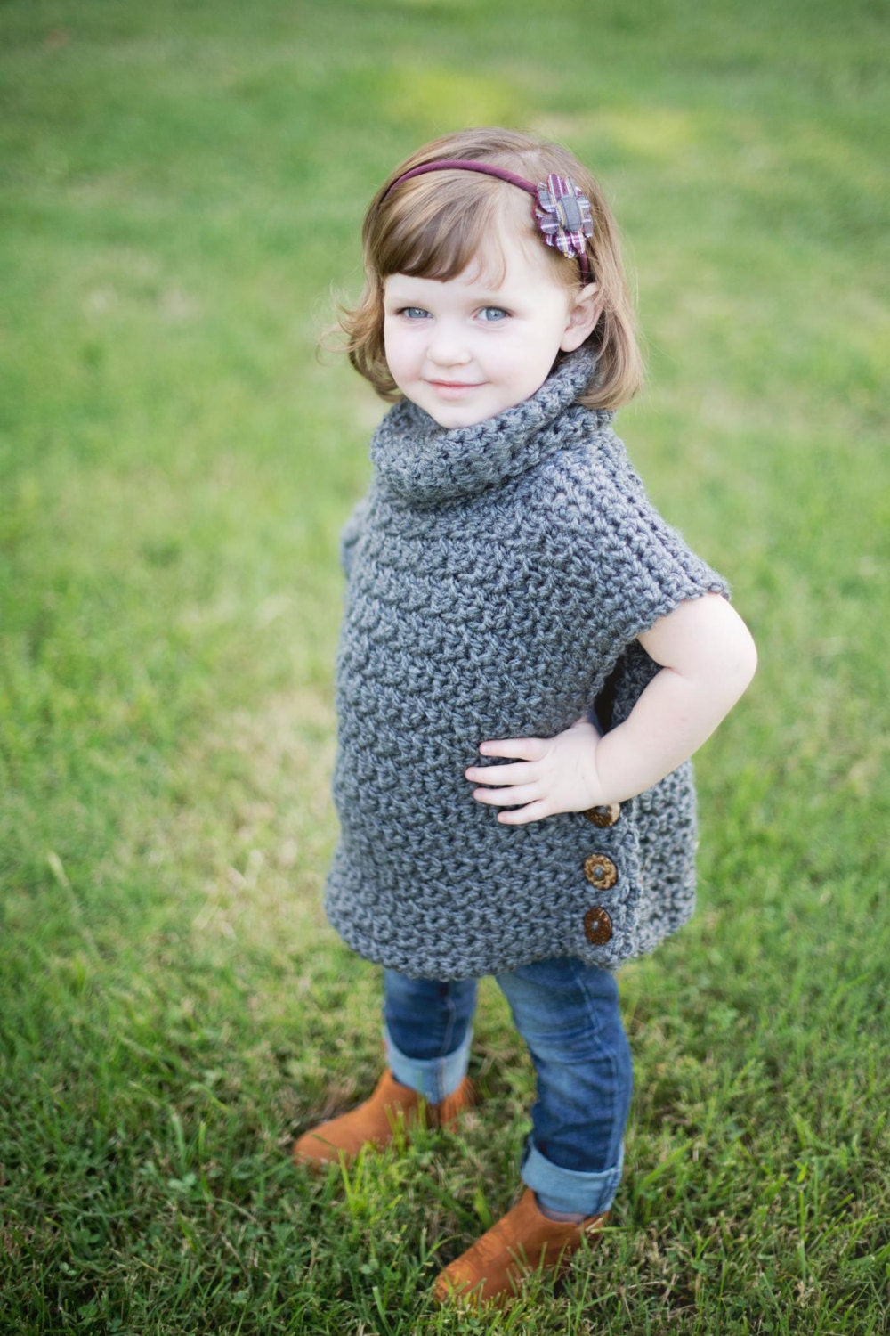 Girls Cowl Neck Pullover Crochet Poncho Cowl Neck Sweater