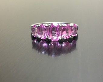 Pink Topaz Engagement Ring - Sterling Silver Topaz Wedding Ring - Five Stone Topaz Ring - Pink Topaz Ring - Oval Pink Topaz Silver Ring