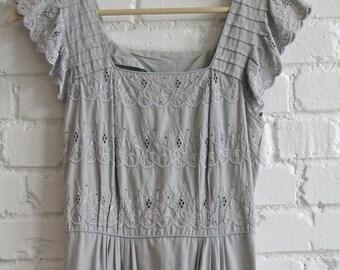 1940s Grey Eyelet Dress // 40s XS Dress // Vintage 40s Eyelet Dress