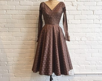 1950s Purple and Brown Full Circle Skirt Dress // 1950s Dress // Vintage 1950s V-Neck and Back