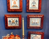 Miniature Samplers II For Christmas & All Year By Sandra Sullivan And Homespun Elegance Vintage Cross Stitch Pattern Leaflet 1985