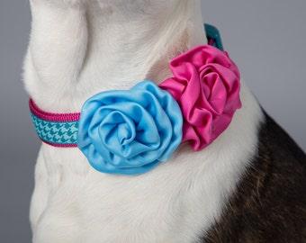 Pet Supplies-Pet Clothing-Accessories & Shoes Pet Accessories-Pet parade-Wedding Dog Collar-Wedding Dog flower-Dog collarflower-Blue-Flower