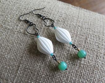 heart earrings, Lucite earrings, white earrings, white and turquoise earrings, summer earrings, long earrings, lightweight earrings,