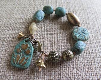 turquoise bracelet, summer bracelet, turquoise and gold, tribal bracelet, chunky bracelet, featured in Summer 2015 Stringing Magazine