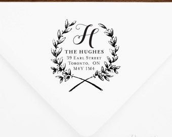 Return Address Stamp #1 - Wooden or Self-Inking - Personalized - Gift, Wedding, Newlywed, Housewarming - INCLUDES HANDLE
