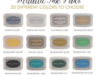 Brilliance Metallic Archival Ink Pads | Pigment Ink Pad | Rubber Stamp Pad | 25 Colors to Choose From