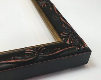 Ornate Picture Frame, Ornate Black Frame, Black And Red Frame, Black And Gold Frame, 3x5, 4x6, 5x7, 8x10, 11x14, 16x20 + Custom Sizes