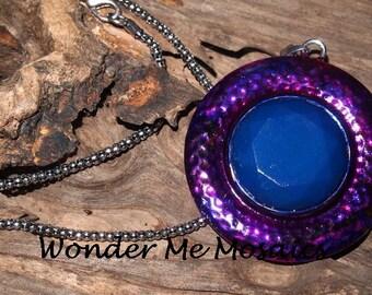 25% SALE  Large Blue/ Pink / Purple Circle Pendant & Silver Necklace - Alcohol Ink