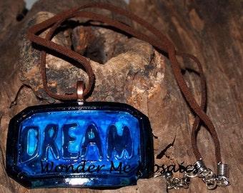 20% SALE  Large Blue Dream Pendant & Necklace - Alcohol Ink Colors