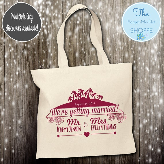 Beach Palm Trees Canvas Tote Bags, Hawaii, Bachelorette Totes, Nautical Bachelorette, Wedding Favor Bags, Tropical, Married, Gifts, Favors