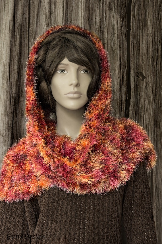 Knitted Scarf in Colors of Autumn