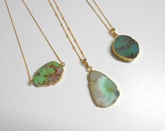 Amazonite Necklace, Raw Quartz Necklace, Healing Stone, Gemstone Slice, Bridesmaid Gift, Natural Stone Crystal, Boho Long Necklace