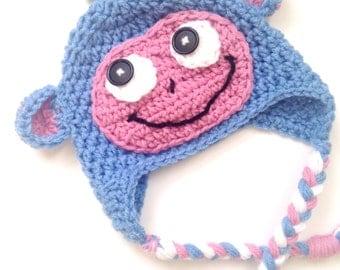 PATTERN** Crochet Boots hat, All Sizes, Newborn to Adult, Dora hat