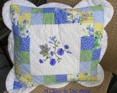 Vintage Square Quilted Pillow Cover in Yellow, Blue, Green and White, Scallop Edge