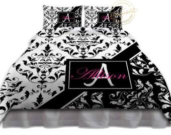 black and white duvet cover designer bedding black and pink duvet cover damask
