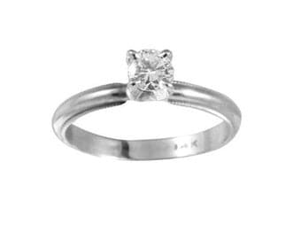 Diamond Solitaire Engagement Ring Wedding Band 14k White Gold Vintage Jewelry