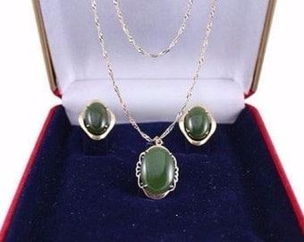 Jade Necklace Earrings 18k Gold Green Jade Jadeite, Three Piece Set Vintage Women's Jewelry
