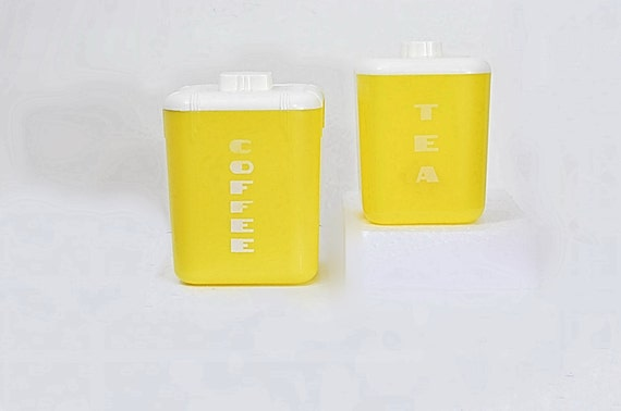 Rona Plastic Corp Yellow Coffee Tea Canisters Art Deco Usa