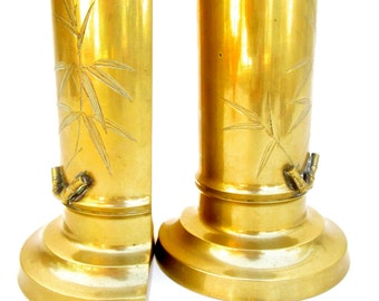 Vintage Solid Brass Bamboo Motif Bookends | Vase / Planter / Pencil Holder || Hollywood Regency Home Décor